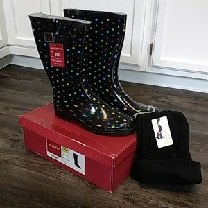 Women's Merona Rubber Rain Boots w/ Fleece Liners